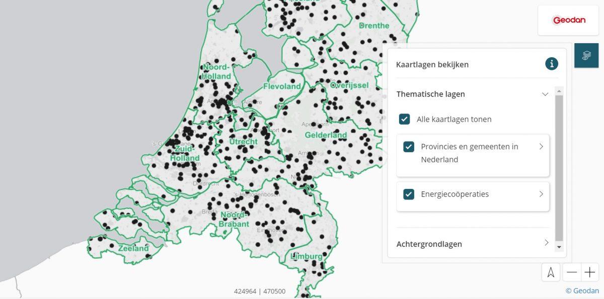 Tool | Kaart met data over energiecoöperaties en coöperatieve zon- en windprojecten